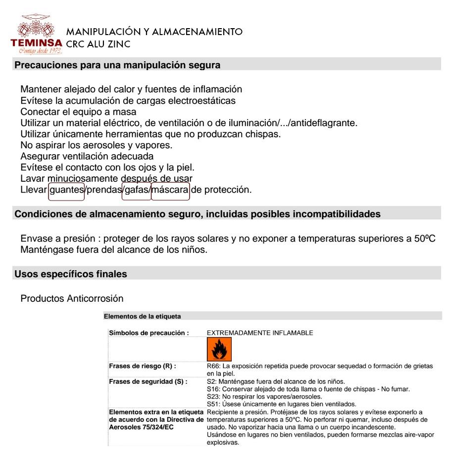 Esmalte Galvanizado CRC ALU ZINC manipulación y almacenamiento