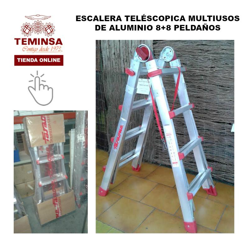 ESCALERA TELÉSCOPICA MULTIUSO ALUMINIO 8+8 PELDAÑOSTeminsa Tienda Online