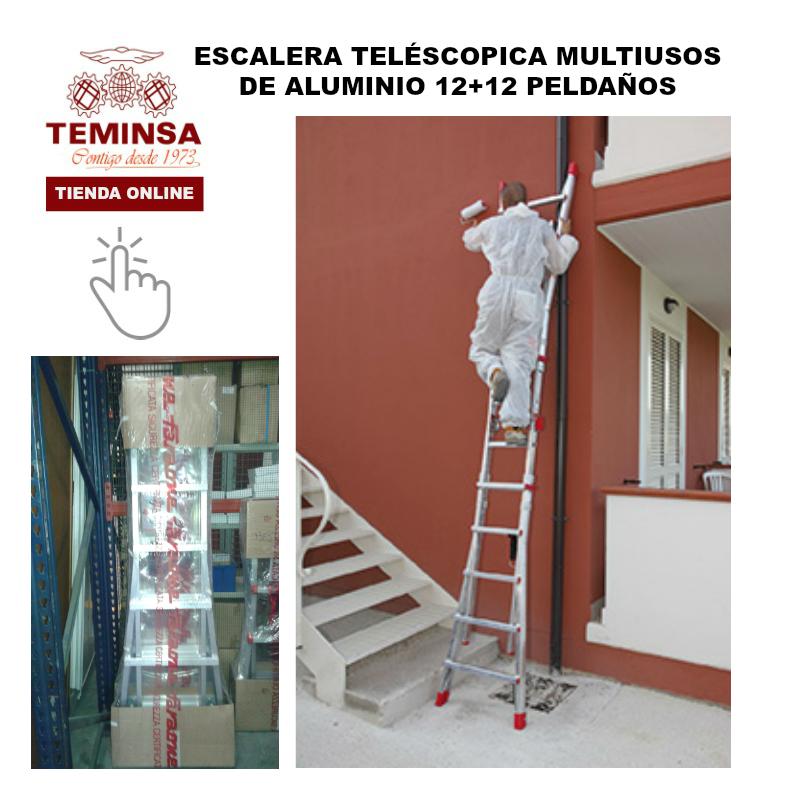 Escalera Aluminio Teléscopica Multiusos 12+12 Teminsa Tienda Online