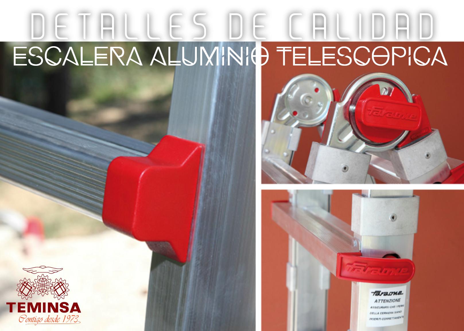 Escalera Aluminio Telescópica Detalles de Calidad