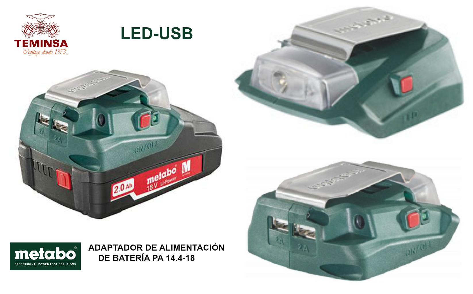 METABO ADAPTADOR DE ALIMENTACIÓN DE LA BATERÍA PA 14.4-18 LED-USB Teminsa Online
