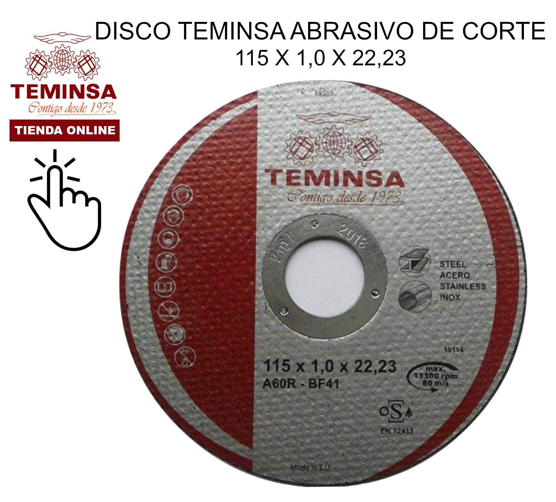 Disco Abrasivo de Corte Teminsa 115x1x22,23