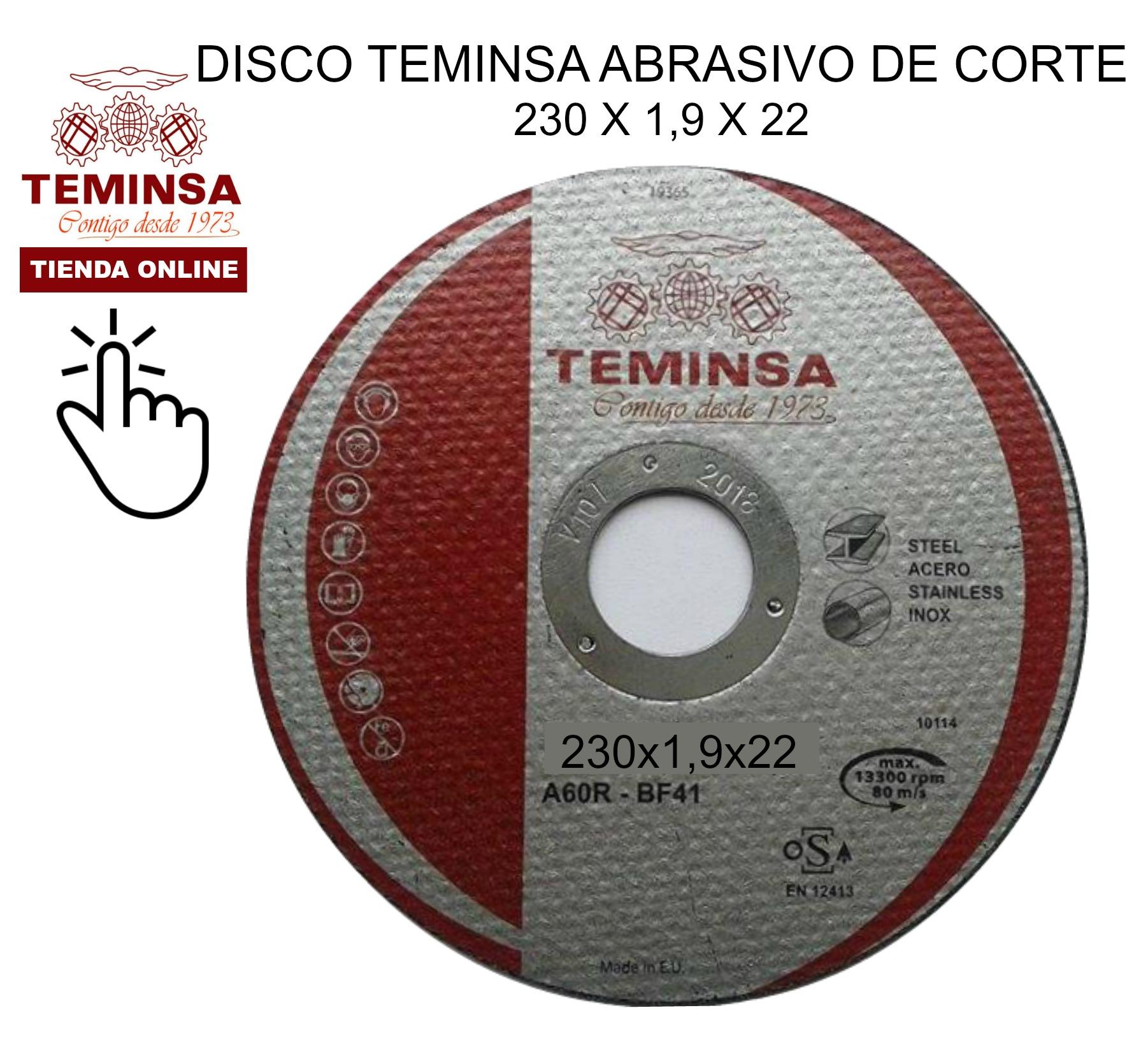 Disco Abrasivo de Corte Teminsa 230x1,9x22