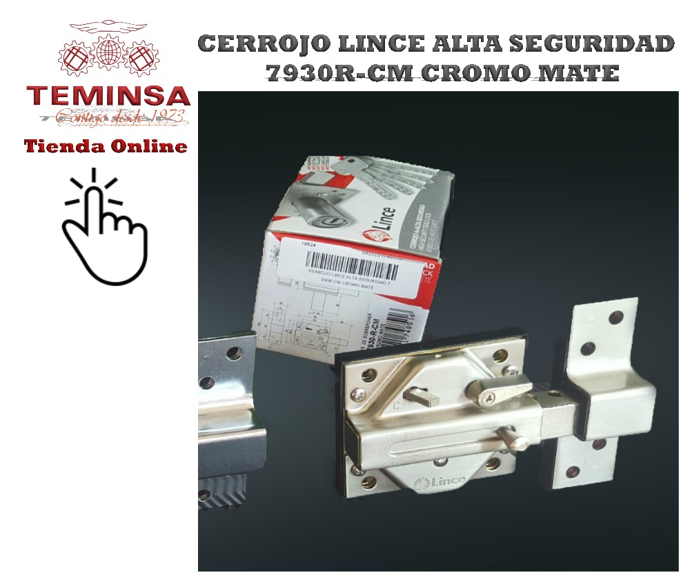 Cerrojo de Alta Seguridad Lince 7930R Cromo Mate Teminsa Tienda Online